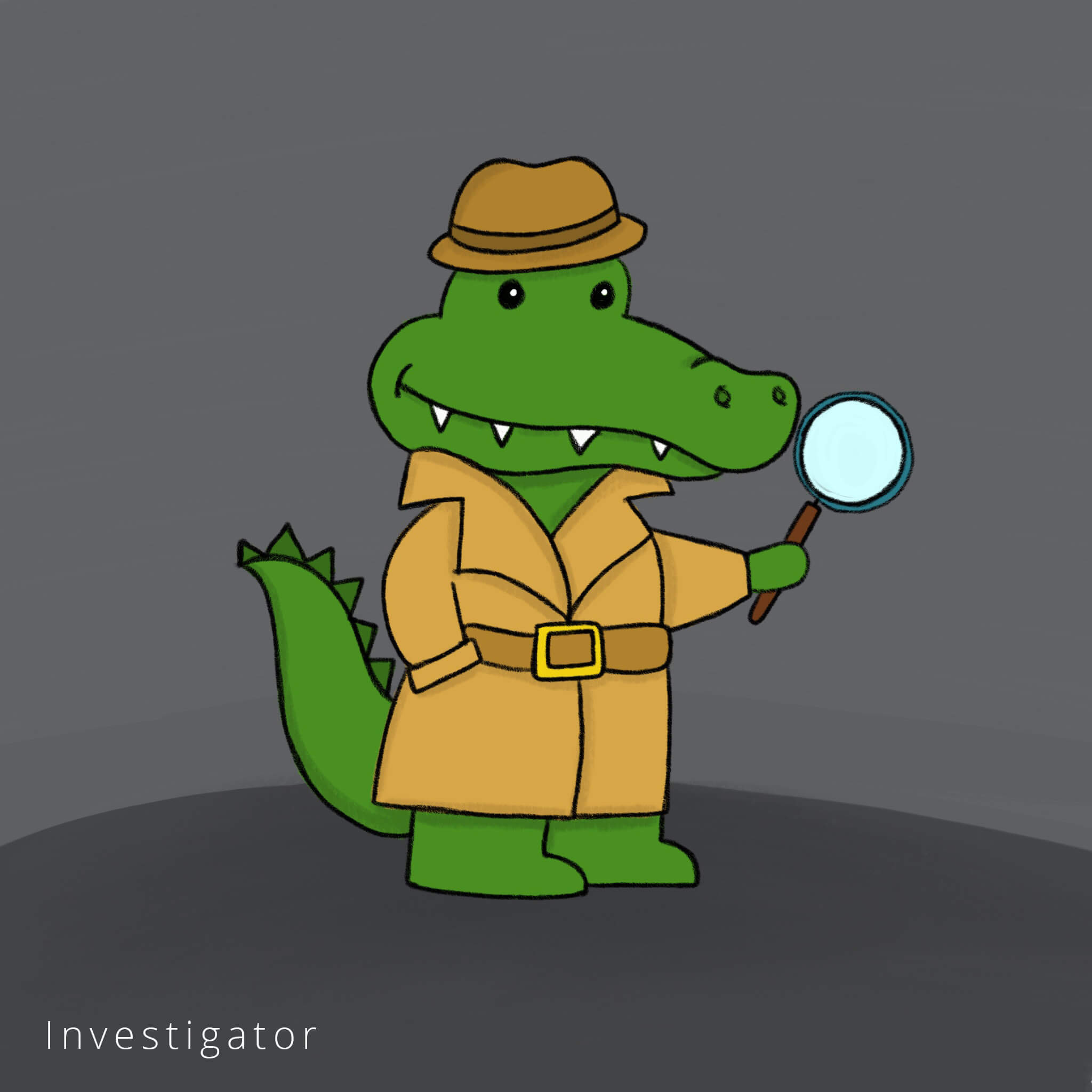 an illustration of a cartoon alligator dressed as a detective