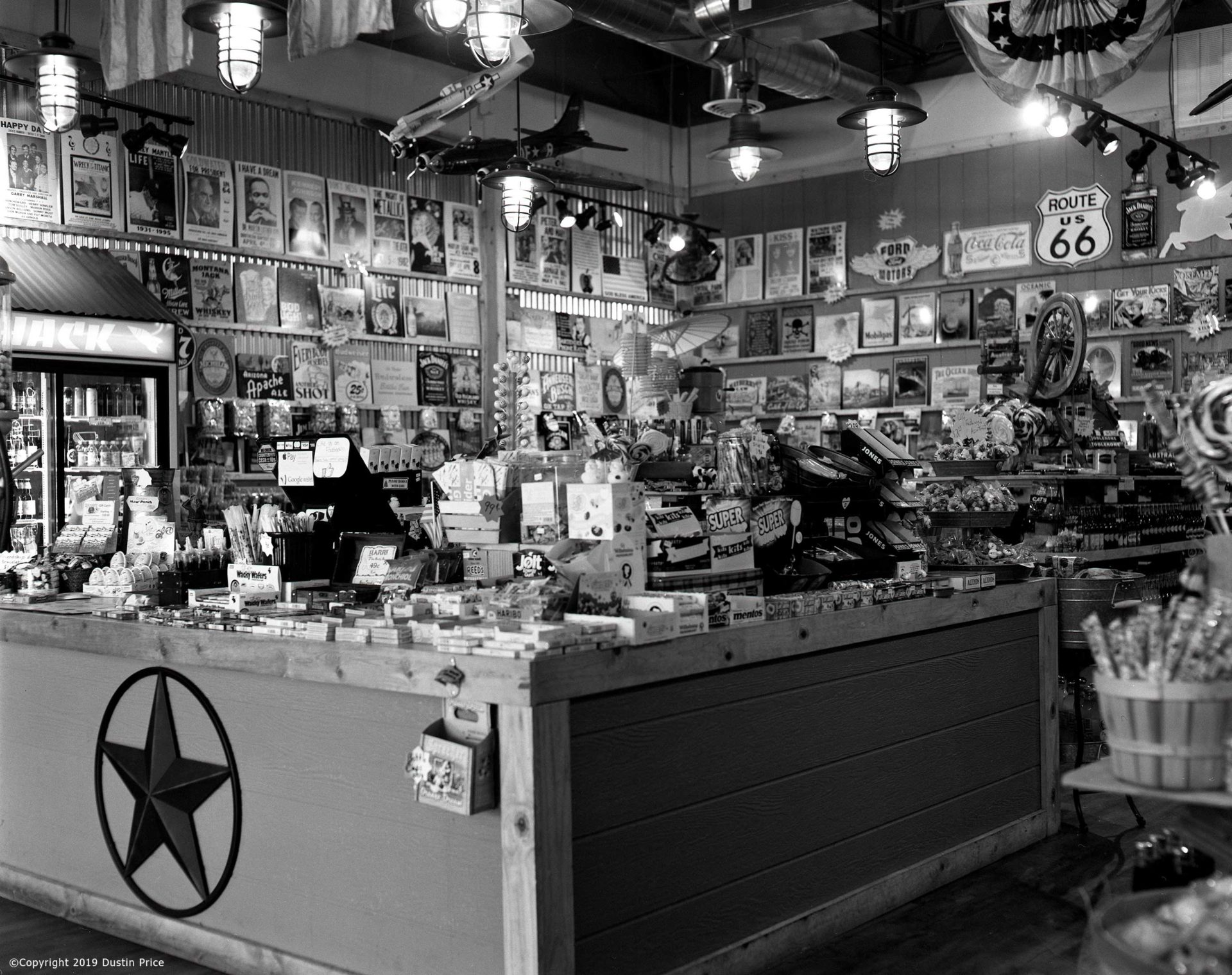 black and white photo of a shopa