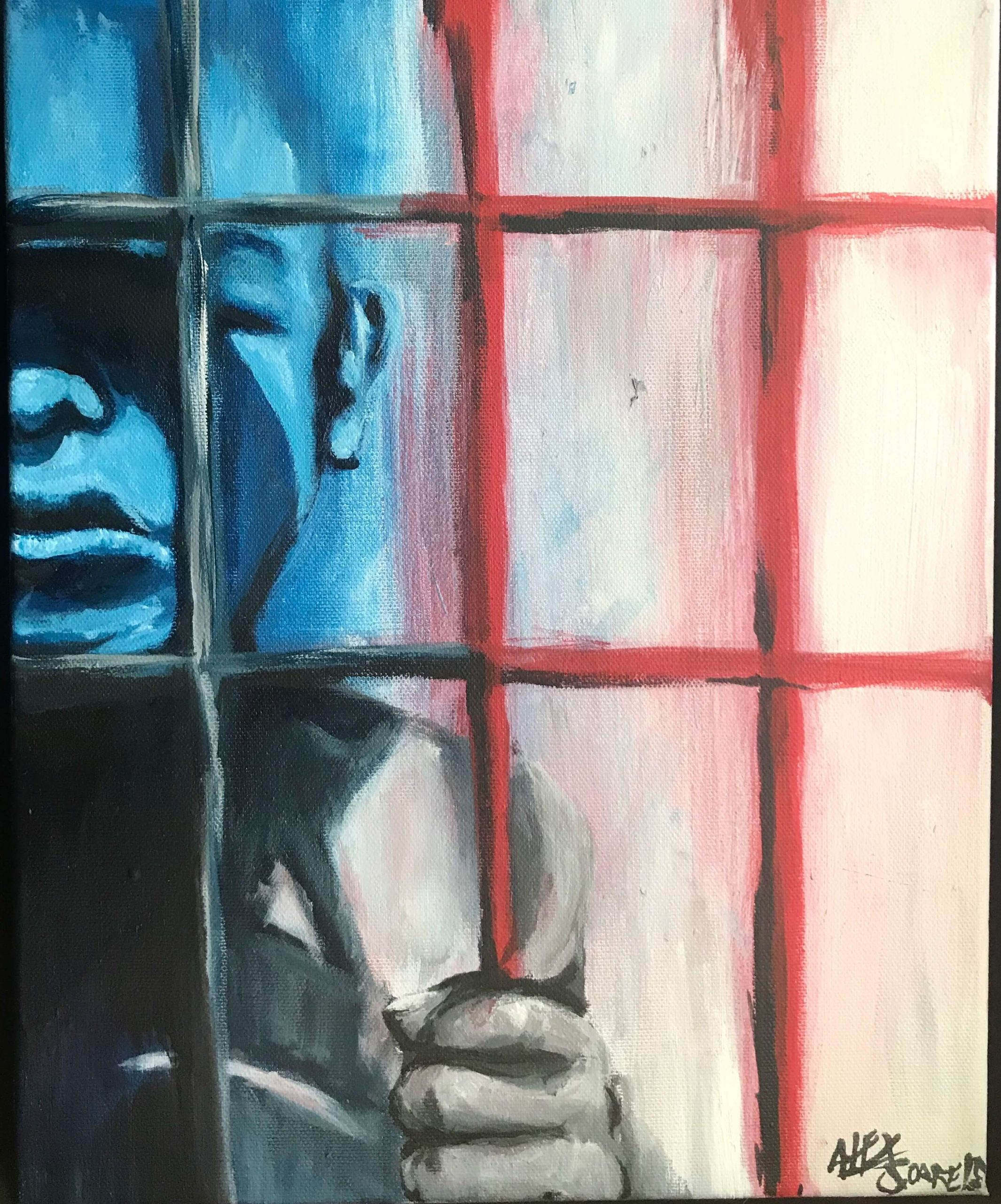 an illustration of a young boy behind bars
