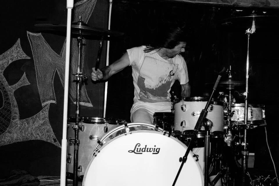 A photo of a drummer