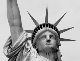 close up of the face of the Statue of Liberty