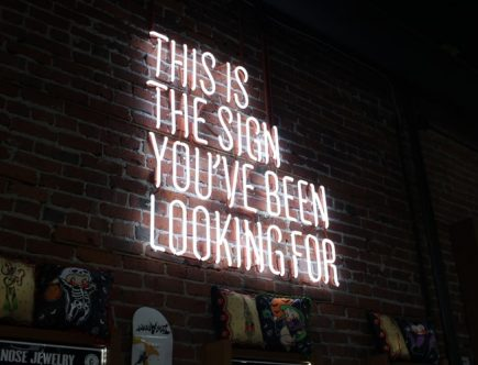 A neon sign that reads: This is the sign you've been looking for.