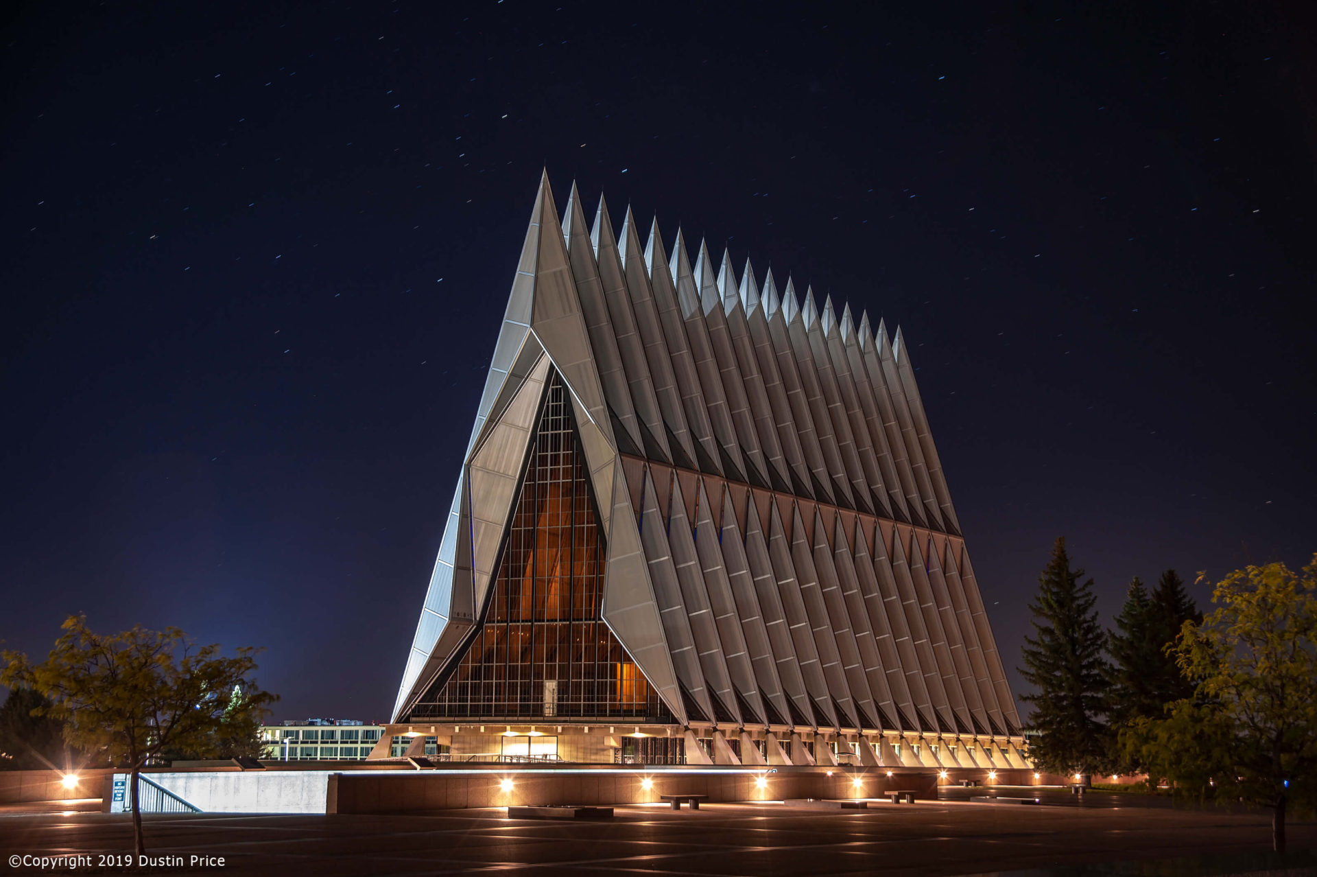 the Air Force Academy Chapel at night