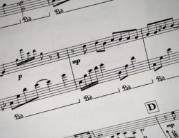 a close up of a sheet of music